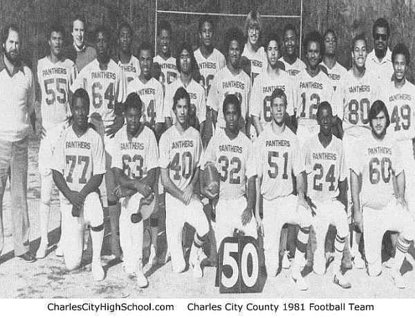 1980-1981 Charles City County Varsity Football Team Photo